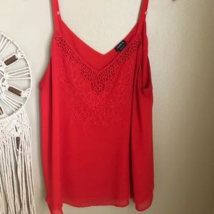 Torrid size 1 red sheer lace camisole tank- pretty